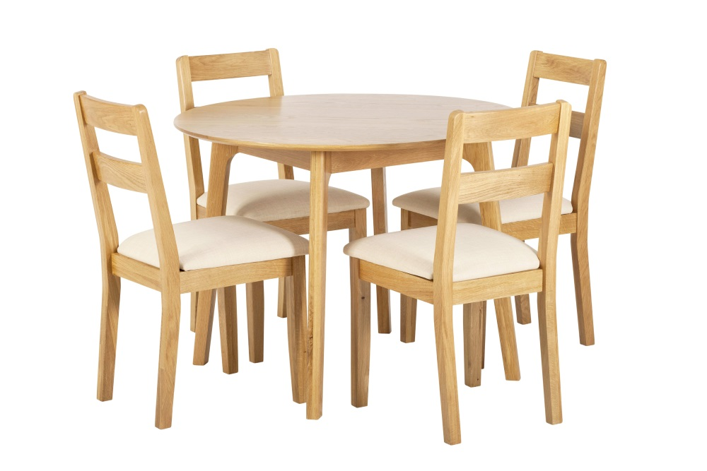 York Oak Round Table With 4 Low Chairs