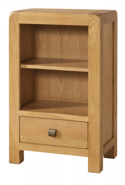 Avon Oak Low Bookcase with Drawer