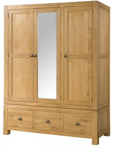 Avon Oak Triple Wardrobe with Drawers
