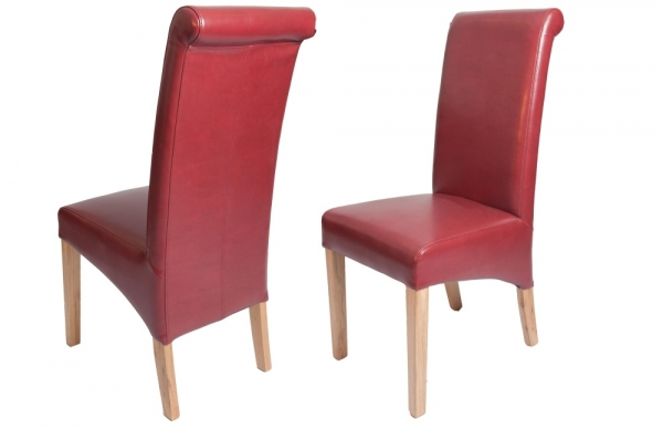 Oxford Leather Dining Chair - Red