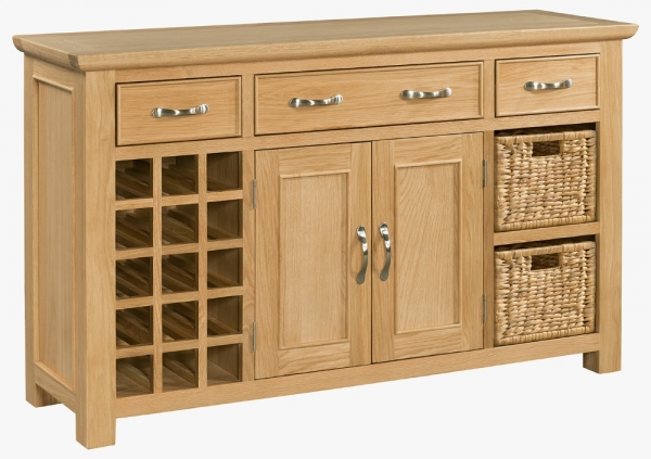 Siena Oak Large Sideboard with Wine Rack