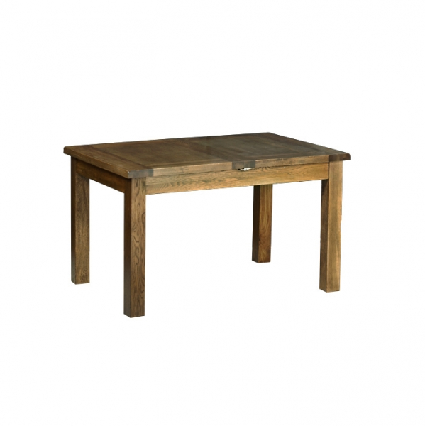 Rustic Oak 4 4  x 3  Extending Table with 2 Leaves