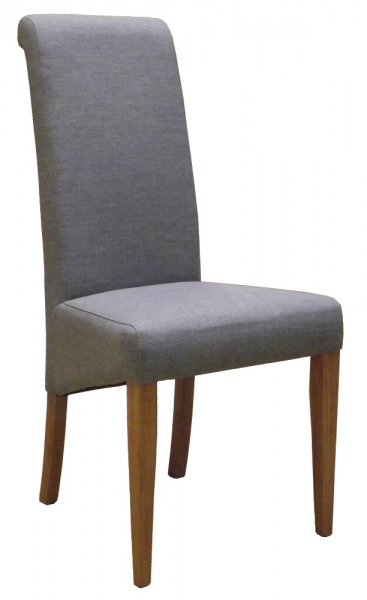 New Oak Light Grey Fabric Dining Chair