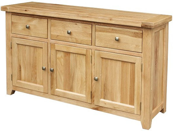 Chunky Oak 3 Door 3 Drawer Sideboard