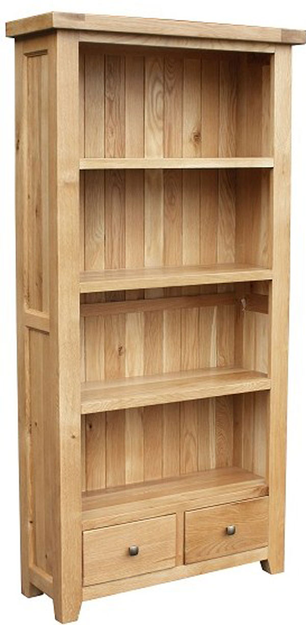 Chunky Oak Large Bookcase with Drawers