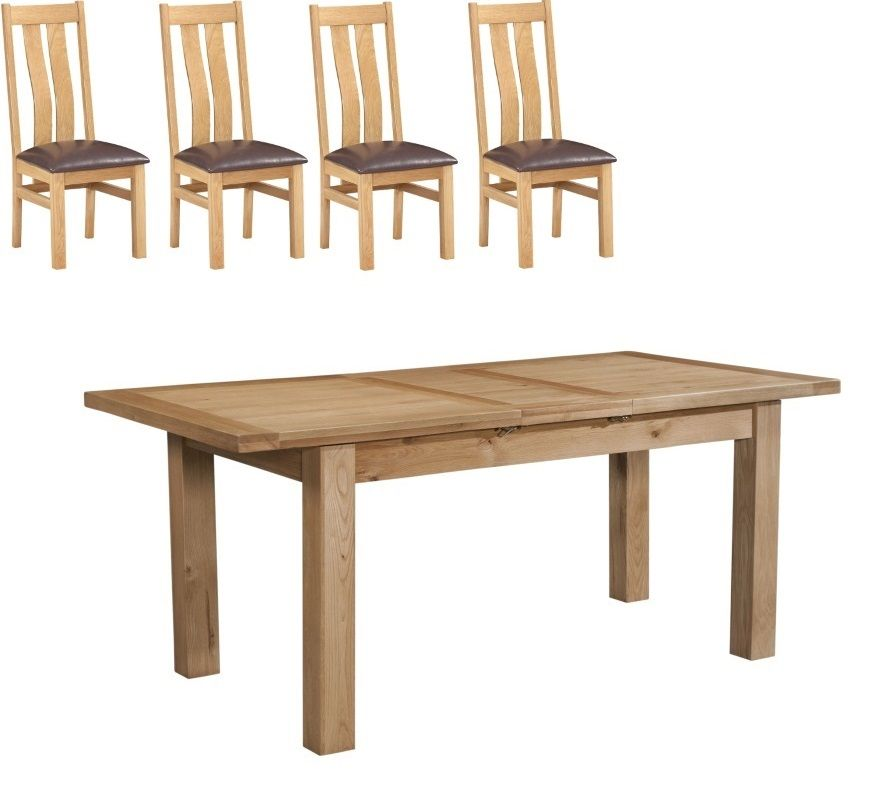 Dorset Oak 1.2 m Extending Table with 4 Arizona Chairs