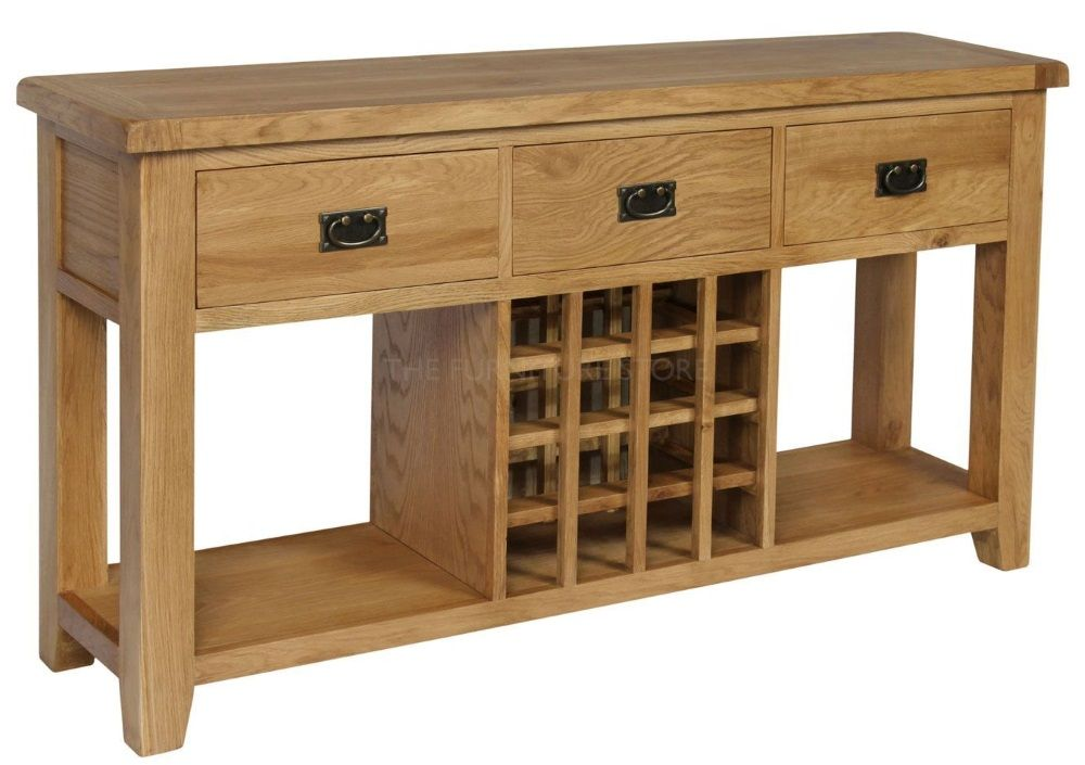 wine rack console table. Hereford Oak Wine Rack Console Table