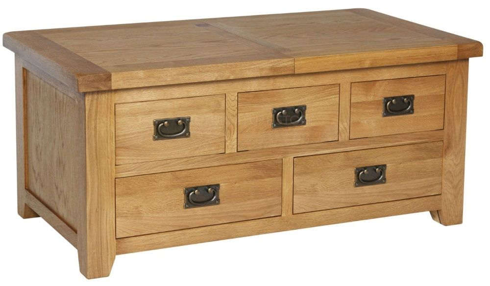 Hereford Oak Large Storage Coffee Table with Drawers