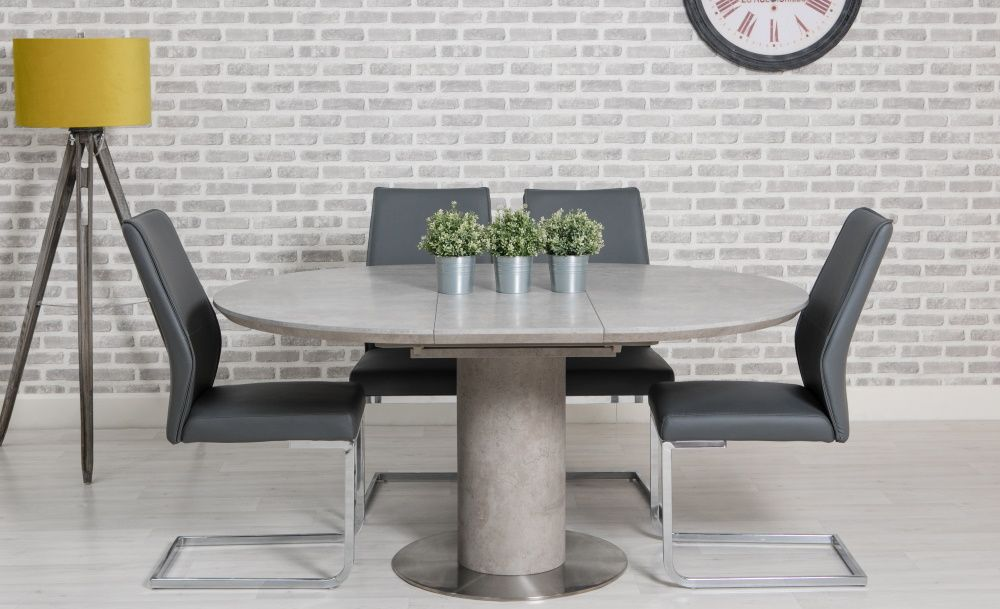 Manhattan 1.2m - 1.6m Round Extending Dining Table with 4 Chairs