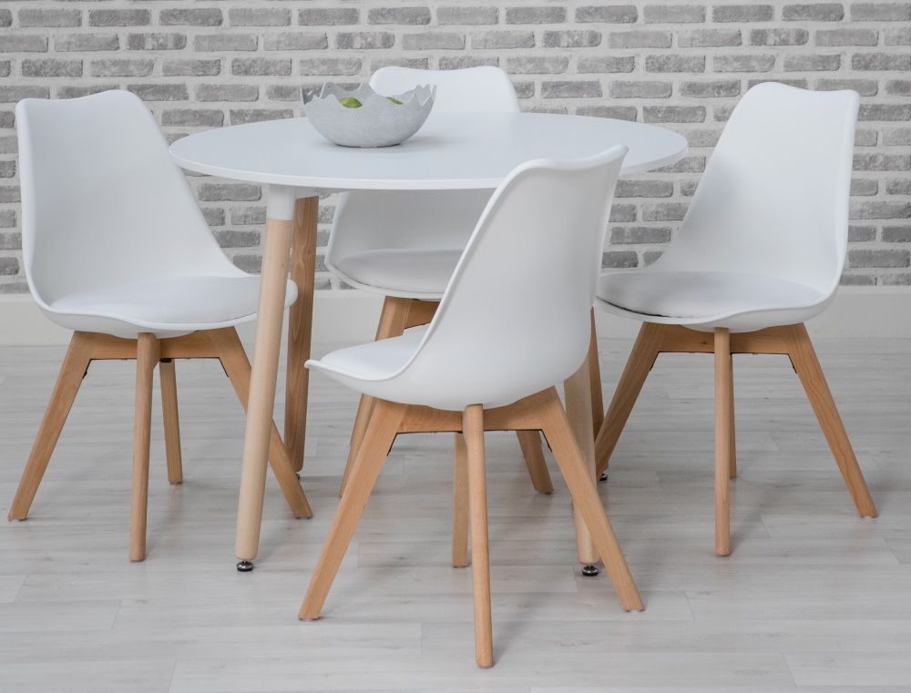 Monza Round Table and 4 Chairs Dining Set