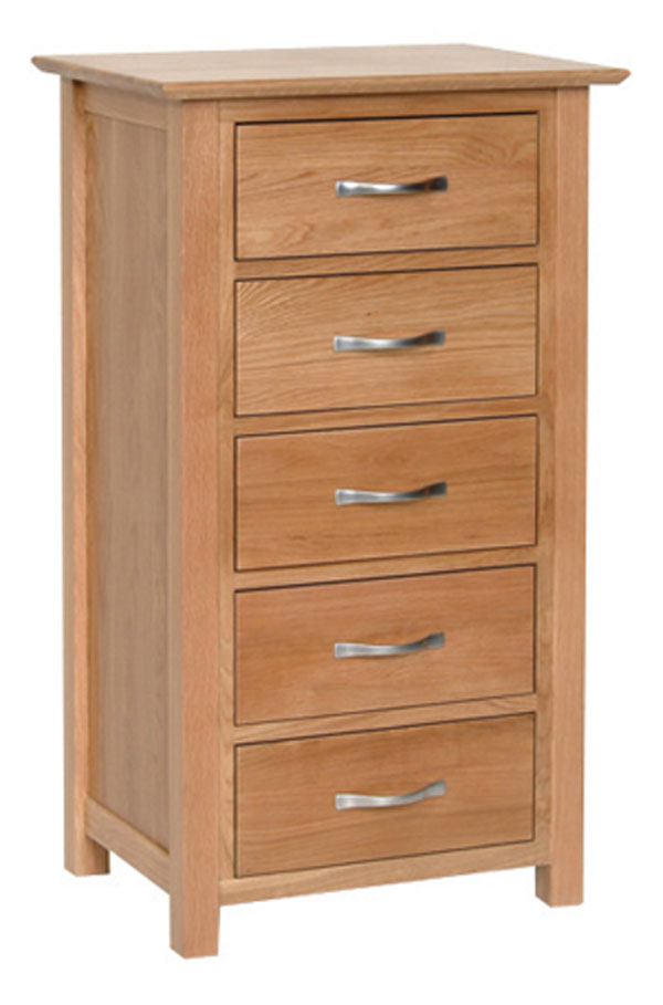 New Oak 5 drawer Wellington chest of drawers