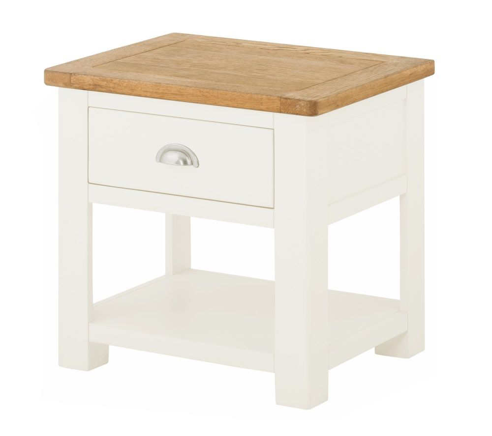 Northport White Lamp Table with Drawer
