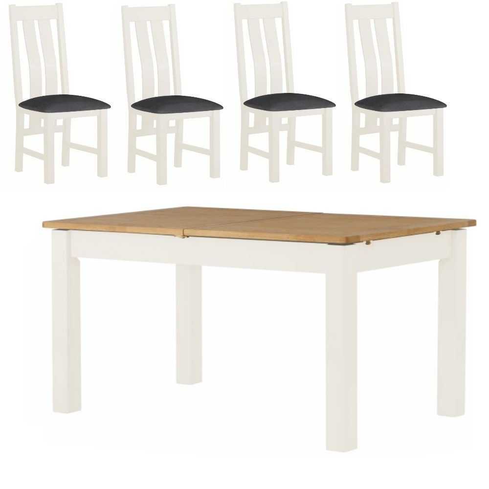 Northport White 1.4 m Extending Table with 4 Chairs