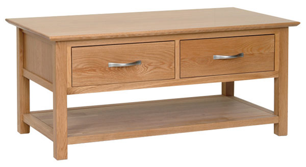 New Oak coffee table with drawers