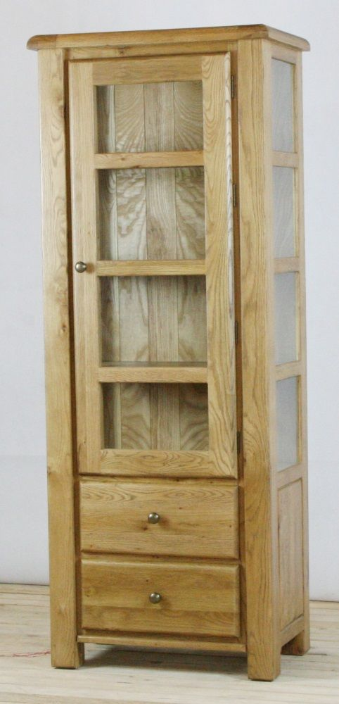 Genoa Oak Display Cabinet with Drawers