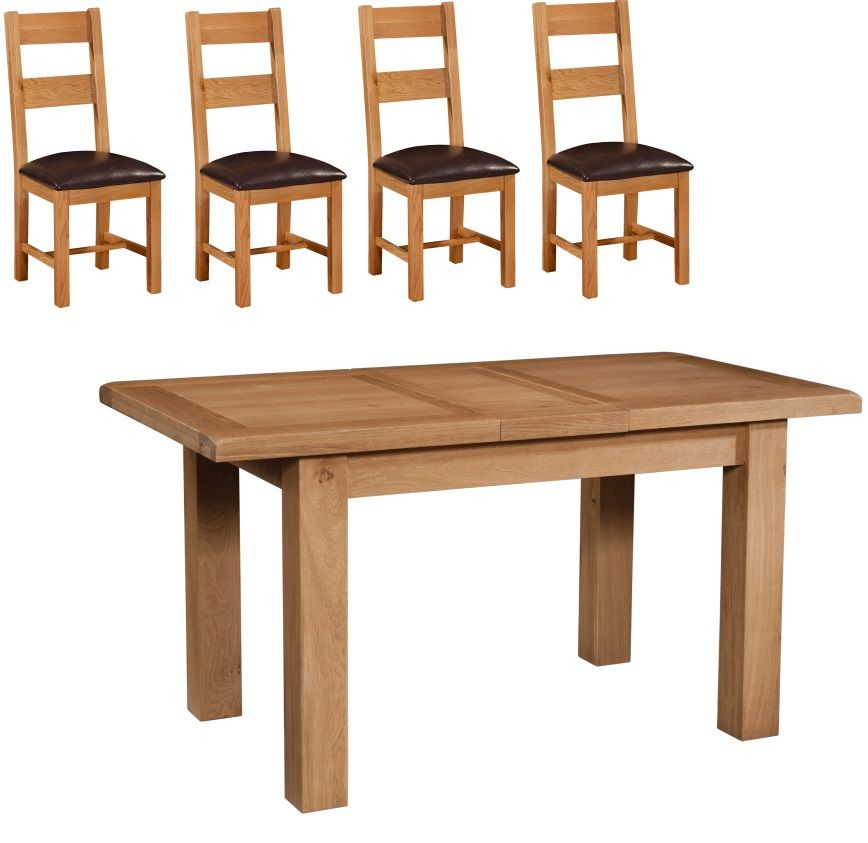 Suffolk Oak 1.2 m Extending Table with 4 Ladder Back Chairs