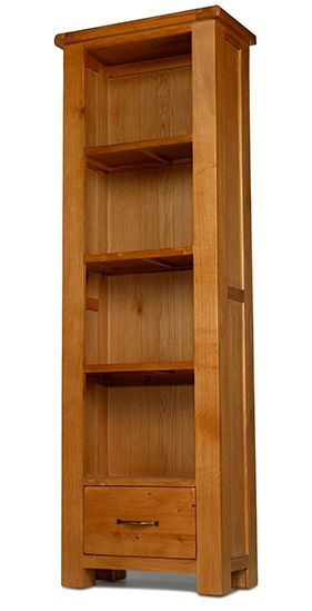 Windsor Oak Tall Slim Bookcase with Drawer