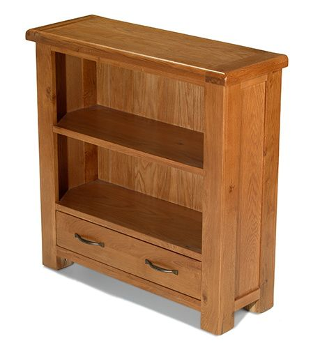Windsor Oak Low Bookcase with Drawer