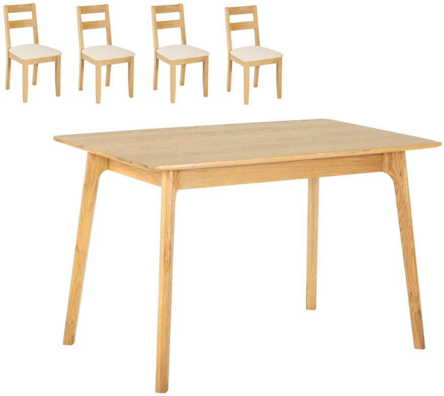 York Oak Dining Table with 4 Low Back Chairs