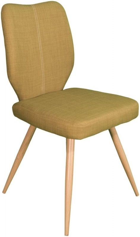 York Oak Enka Fabric Dining Chair - Green