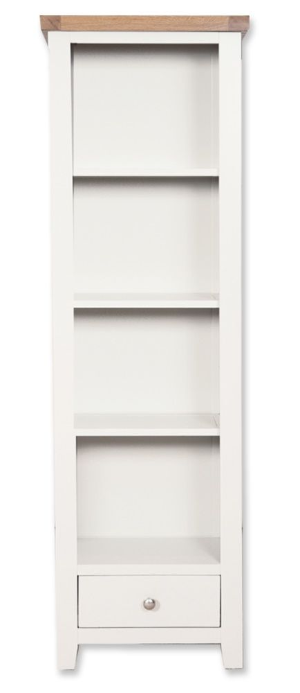 Cornwall Painted Slim Bookcase with Drawer