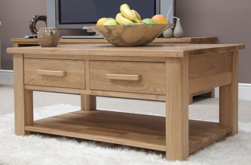 Opus Oak Coffee Table with Drawers