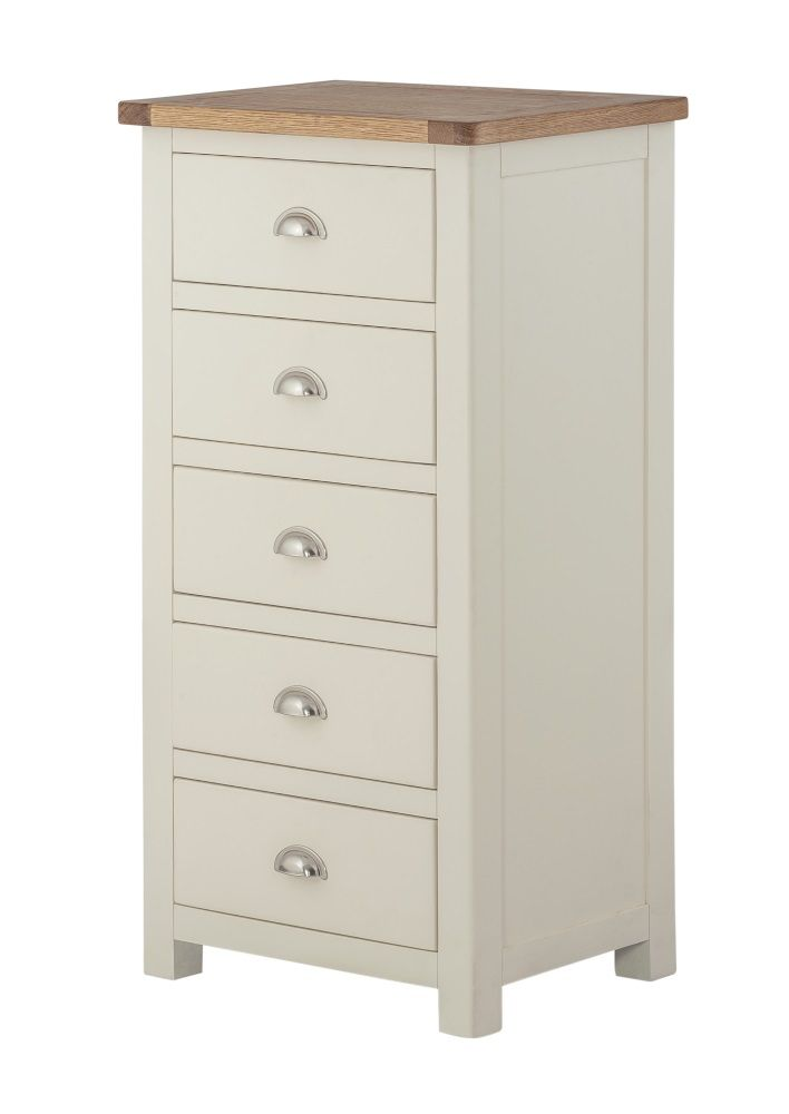Northport Cream 5 Drawer Slim Chest of Drawers