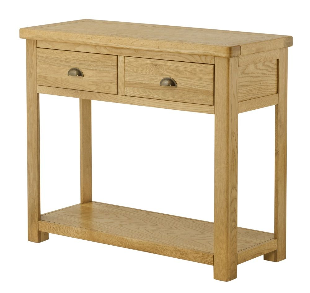 Portland oak console table with drawers
