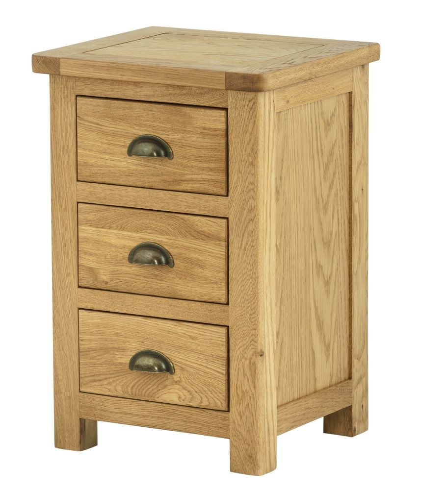 Northport Oak 3 Drawer Bedside