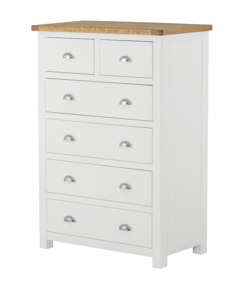 Northport White 2 over 4 Chest of Drawers
