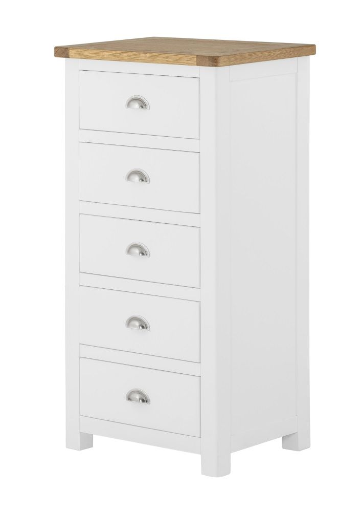 Northport White 5 Drawer Slim Chest of Drawers