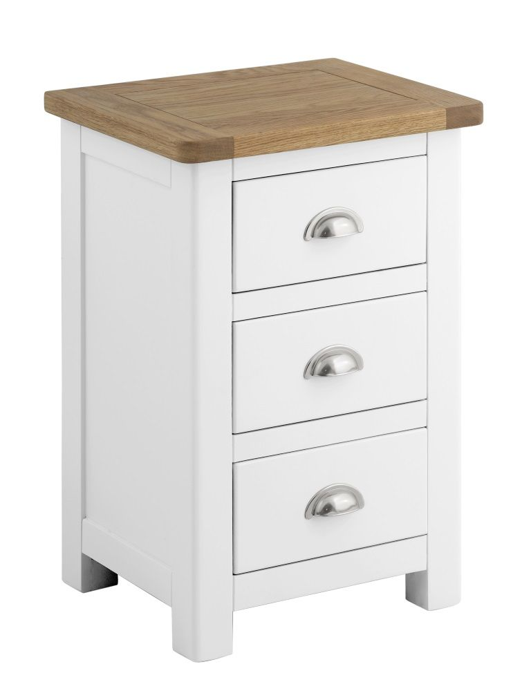 Northport White 3 Drawer Bedside Cabinet