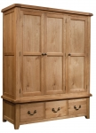 Suffolk Oak triple wardrobe with 3 drawers