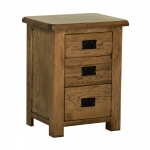 Rustic Oak High 3 Drawer Bedside