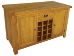 North Bay Oak Console Table with Cupboards and Wine Holders
