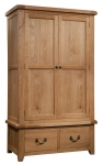 Suffolk Oak gents double wardrobe with 2 drawers