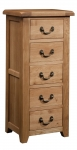 Suffolk Oak 5 drawer wellington chest of drawers