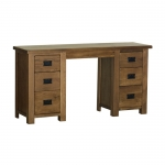 Rustic Oak Double Pedestal Dressing Table