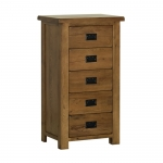 Rustic Oak 5 Drawer Wellington Chest