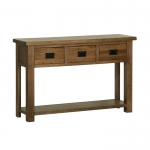 Rustic Oak 3 Drawer Console Table