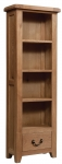 Suffolk Oak narrow bookcase with drawer