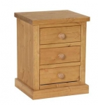 Chunky Pine 3 drawer bedside