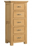Siena Oak 5 Drawer Wellington Chest