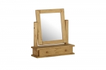 Chunky Pine single dressing table mirror with drawer