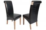 Oxford Leather Dining Chair - Black