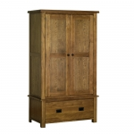 Rustic Oak Gents Wardrobe with Drawer
