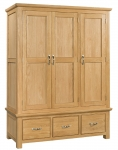 Siena Oak Triple Wardrobe with Drawers