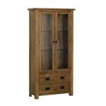 Rustic Oak Glass Display Cabinet