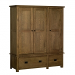 The Rustic Oak Triple Wardrobe with Drawers