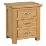 Siena Oak 3 Drawer Bedside